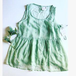 Lauren Conrad Mint Green Lace Sleeveless Blouse